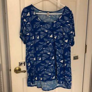 LuLaRoe Royal Blue Geometric Pattern Top